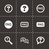 Vector black faq icon set Royalty Free Stock Image