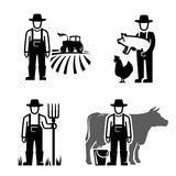 Vector black farmer. Icon on white background Stock Photography
