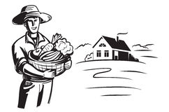 Vector black farmer stock illustration