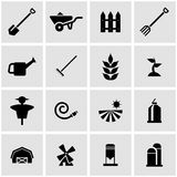Vector black farming icon set Royalty Free Stock Image