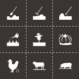 Vector black farming icons set Royalty Free Stock Image