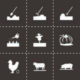 Vector black farming icons set. On black background Royalty Free Stock Image