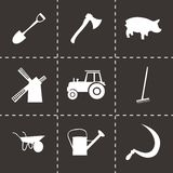 Vector black farming icons set Royalty Free Stock Photo