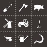 Vector black farming icons set Royalty Free Stock Photo