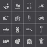 Vector black  farming icons set. This is file of EPS10 format Royalty Free Stock Photos