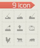 Vector black farming icons set Stock Photos