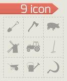 Vector black farming icons set Stock Image