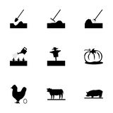Vector black farming icons set Royalty Free Stock Photos