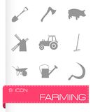 Vector black farming icons set Stock Photo