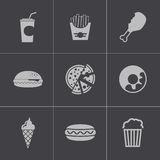 Vector black fast food icons set Stock Image