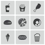 Vector black fast food icons set Royalty Free Stock Photos