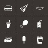 Vector black fastfood icon set Royalty Free Stock Photos