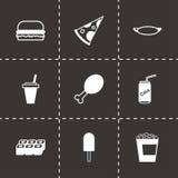 Vector black fastfood icon set. On black background Royalty Free Stock Photos