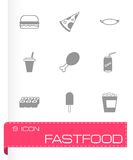 Vector black fastfood icon set Stock Image