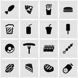 Vector black fastfood icon set Royalty Free Stock Photography