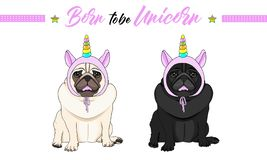 Vector black and fawn pug puppy dogs sitting down, wearing pink bonnet with unicorn horn with rainbow colors. Cute vector black and fawn pug puppy dogs sitting vector illustration