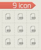Vector black file format icons set. On grey background Royalty Free Stock Photo