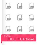 Vector black file format icons set. On white background Stock Photo