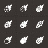 Vector black file sport balls icon set. On black background Stock Photo