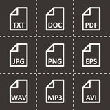 Vector black file type icon set. On black background Royalty Free Stock Images