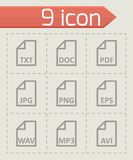 Vector black file type icon set. On grey background Royalty Free Stock Photo