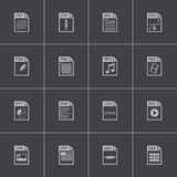 Vector black file type icons set Stock Photos