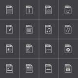 Vector black file type icons set Stock Photos