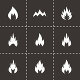 Vector black fire icon set. Vector black fire type icon set on black background Stock Image