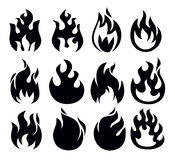 Fire icon. Vector black fire icon set on white Royalty Free Stock Images