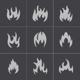 Vector black fire icons set Royalty Free Stock Image