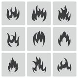 Vector black fire icons set. On white background Stock Photos