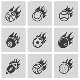 Vector black fire sport balls icons set Royalty Free Stock Images