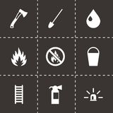 Vector black firefighter icon set. On black background Royalty Free Stock Photo