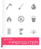 Vector black firefighter icon set Royalty Free Stock Images