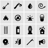 Vector black firefighter icon set. On grey background Royalty Free Stock Image