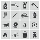 Vector black  firefighter icons set. This is file of EPS10 format Royalty Free Stock Photography