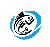 Vector black fish Stock Images