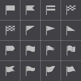 Vector black flag icons set Royalty Free Stock Images