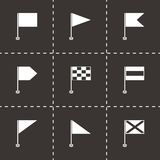Vector black flags icons set. On black background Royalty Free Stock Images