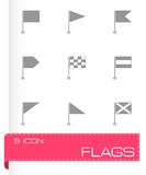 Vector black flags icons set Royalty Free Stock Image