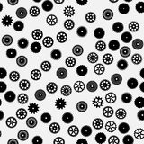 Vector black flat gears seamless pattern Royalty Free Stock Images