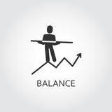 Vector black flat icon balance. man goes on the chart Stock Image