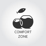 Vector black flat icon comfort zone, aquarium and jumping fish. Label of comfort zone as aquarium and jumping fish. Simple black icon. Logo drawn in flat style Royalty Free Stock Image
