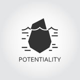 Vector black flat icon hidden potential and opportunity as iceberg Stock Photos