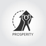 Vector black flat icon prosperity, promotion as man lifts arrow Stock Photography
