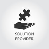 Vector black flat icon solution provider as hand giving puzzle. Label of solution provider or innovation as hand giving puzzle. Simple black icon Logo drawn in Stock Photos