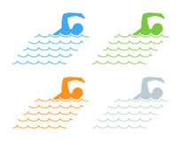 Vector black flat swimming logo and icon. Stock Images