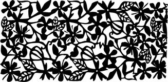 Vector black flowers illustration Royalty Free Stock Images