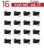 Vector black folder icon. Set Stock Photos