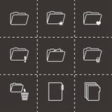 Vector black folder icons set. On black background Royalty Free Stock Images
